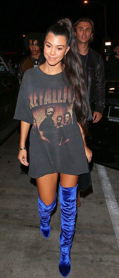861eb7f0a8a Pinterest  DEBORAHPRAHA ♥ Kourtney kardashian wearing rock band t shirt +  bright blue over the knee boots
