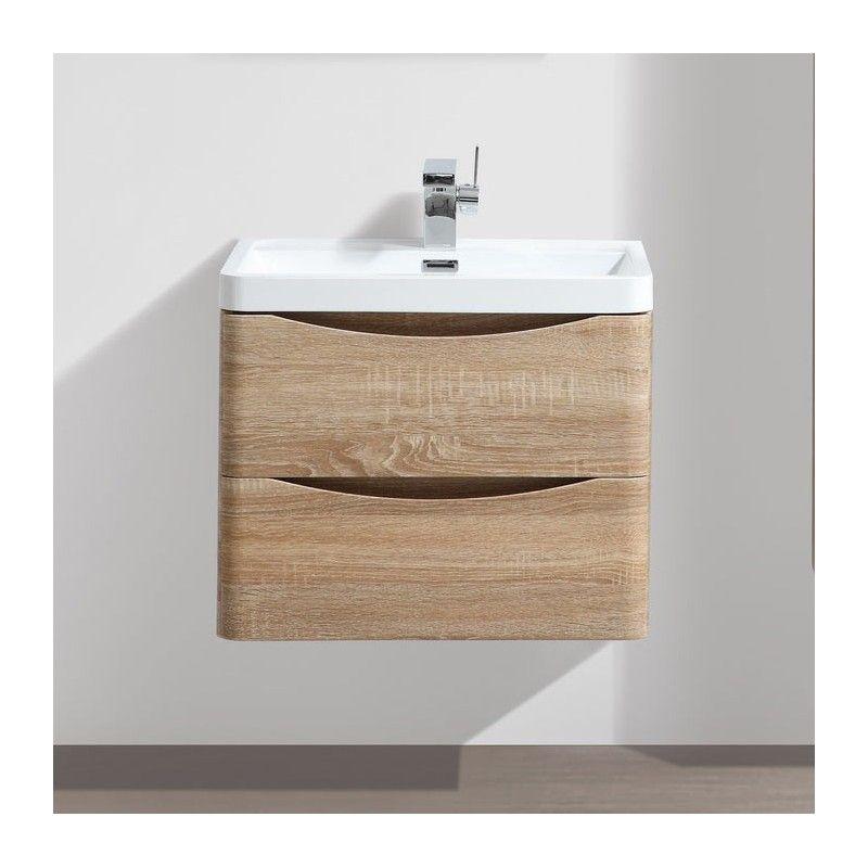 Meuble salle de bain 60 cm Chªne 2 tiroirs plan posite