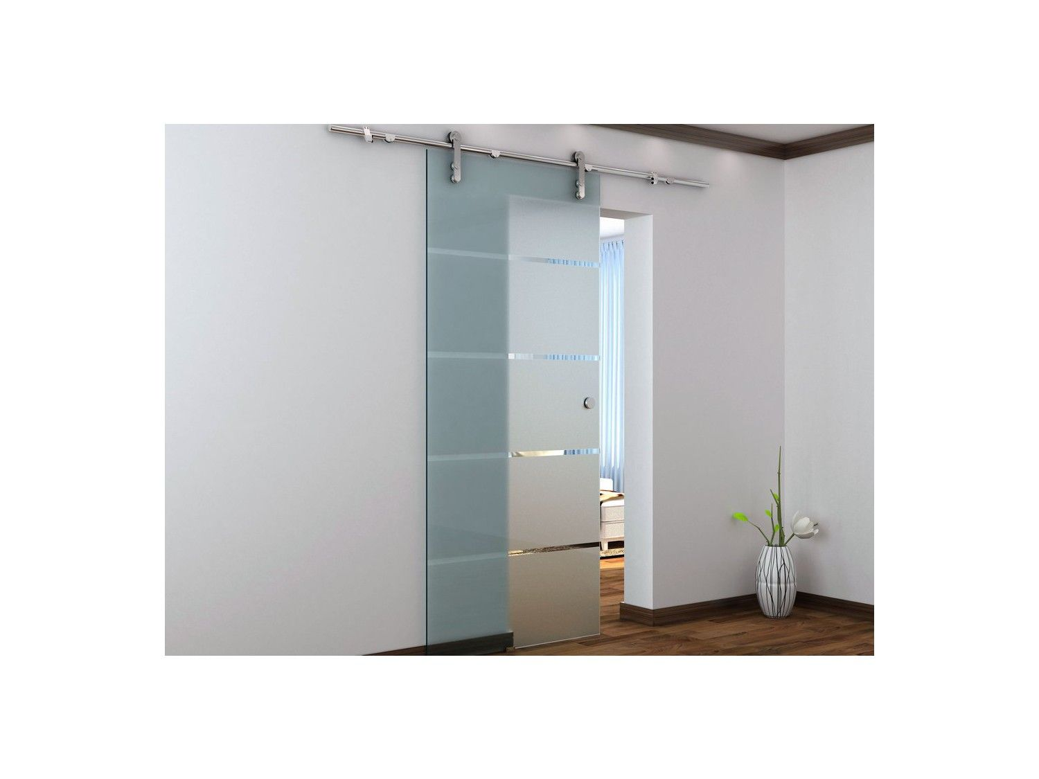 Porte coulissante en applique glassy h205 x l73 cm verre tremp sdb pinterest porte for Porte 93 cm coulissante