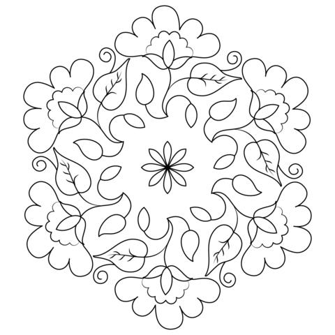 Flower Buds Kolam Coloring Page From Rangoli Category Select 21195 Printable Crafts Of Cartoons Nature Animals Bible And Many More
