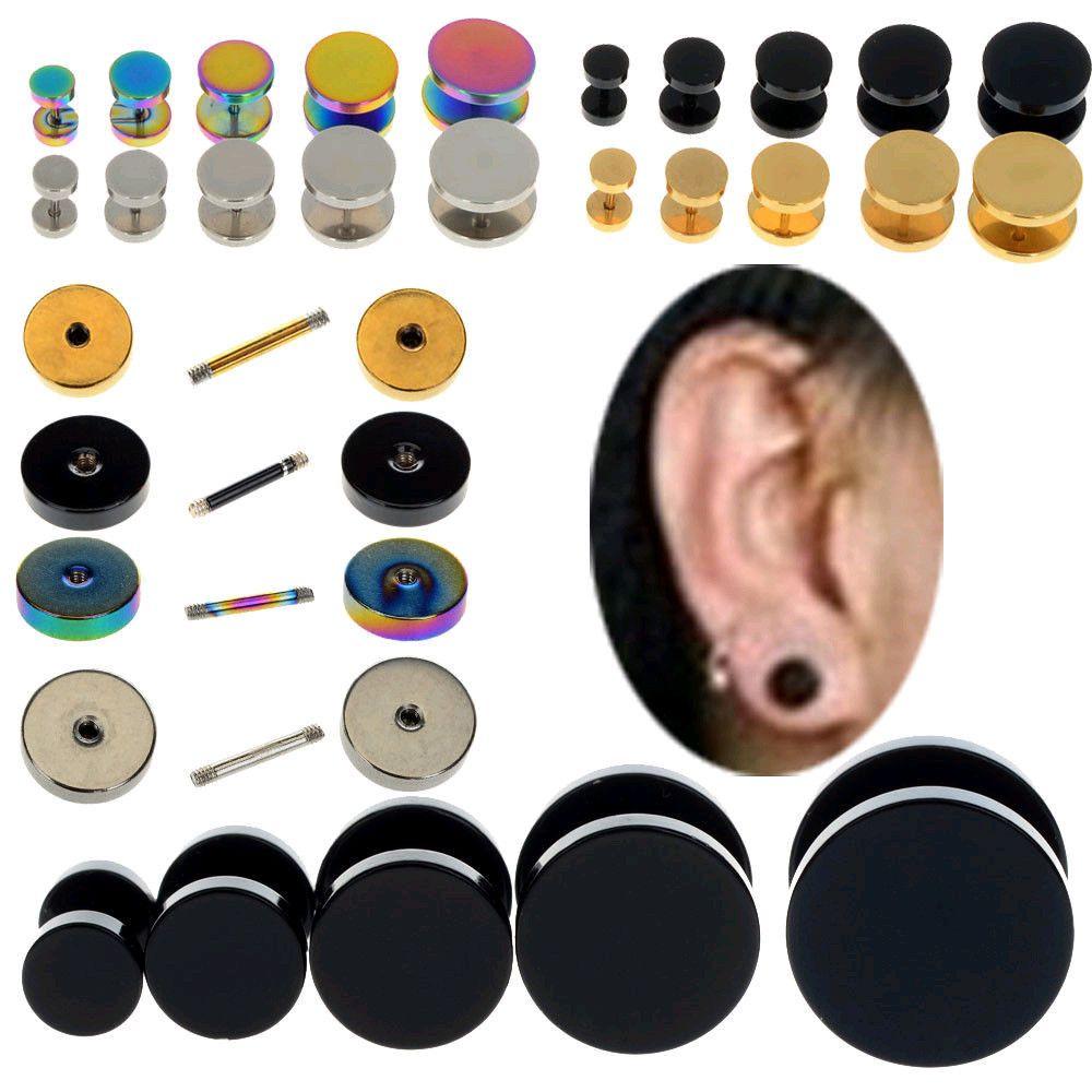 2pc Steel Barbell Screw Back Men's Earrings Studs 18ga Fake Cheater Ear  Plugs #newlook