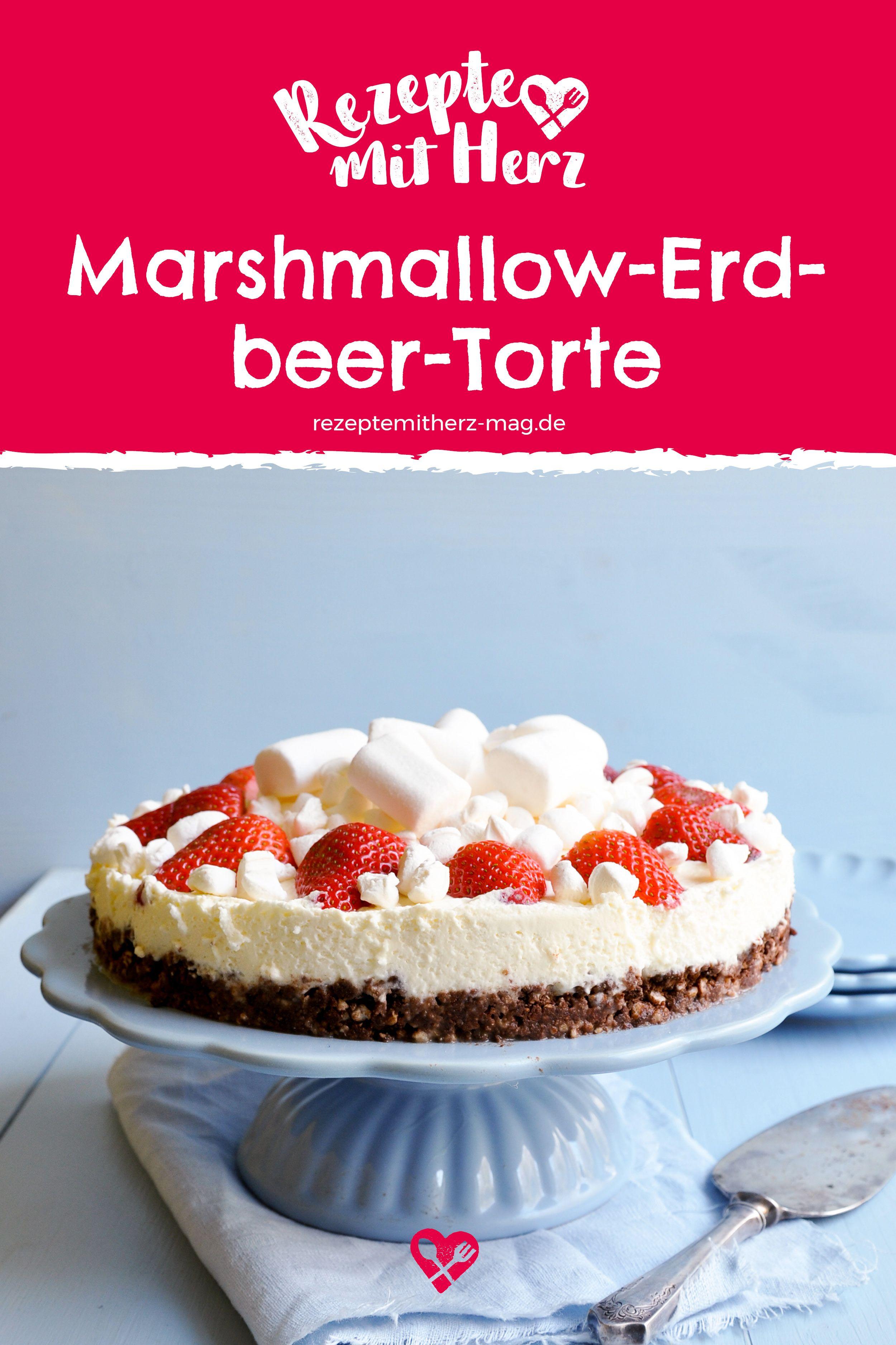 Marshmallow Erdbeer Torte Erdbeertorte Ohne Backen Mit Einem Ganz Besonderen Kick Schnell Und Einfa Backrezepte Kuchen Und Torten Rezepte Lebensmittel Essen