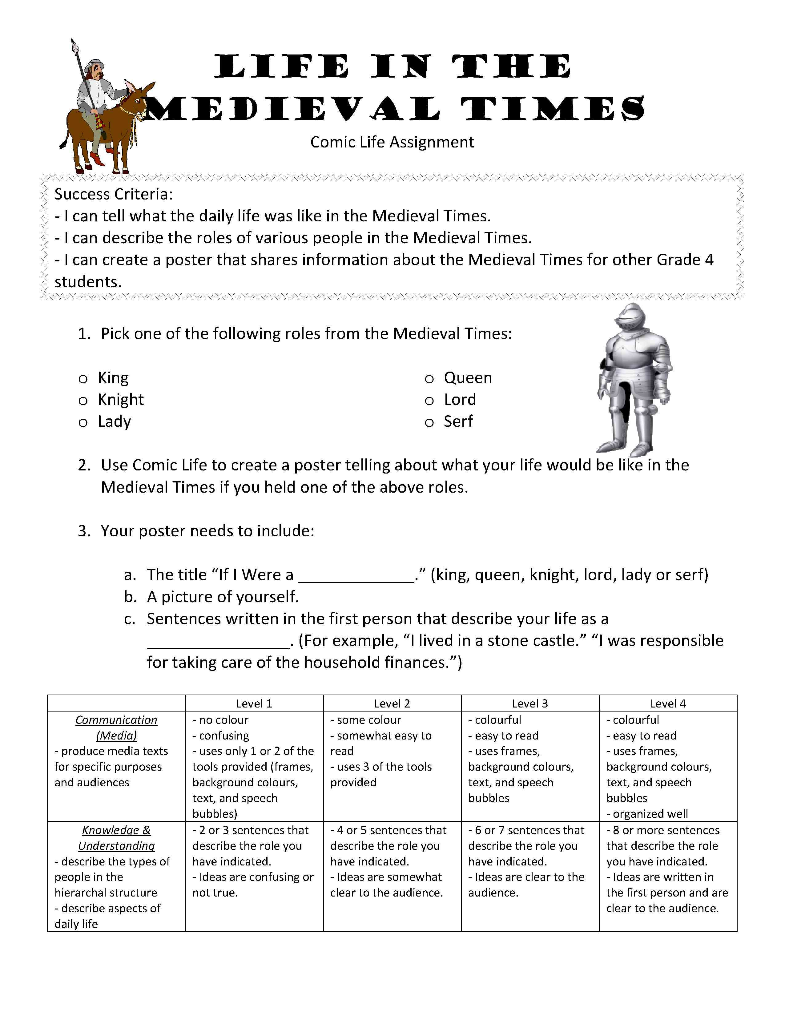Grade 4 :: Social Studies :: Heritage and Citizenship :: Life in the  Medieval Times -