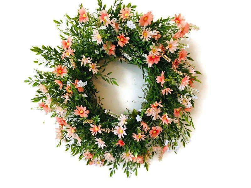 Photo of Spring flower vine wreath, seasonal Easter decoration, flower door hanger, front door decor, GiGi masterpieces, Mother's Day gift,
