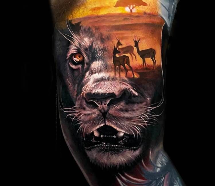 Lion Morph Tattoo: Lion Tattoo, Tattoos, World