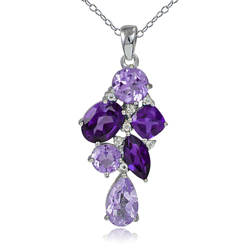 ~ 925 Silver 3.5ct African Amethyst, Amethyst & White Topaz Cluster Necklace ~   ebay.com