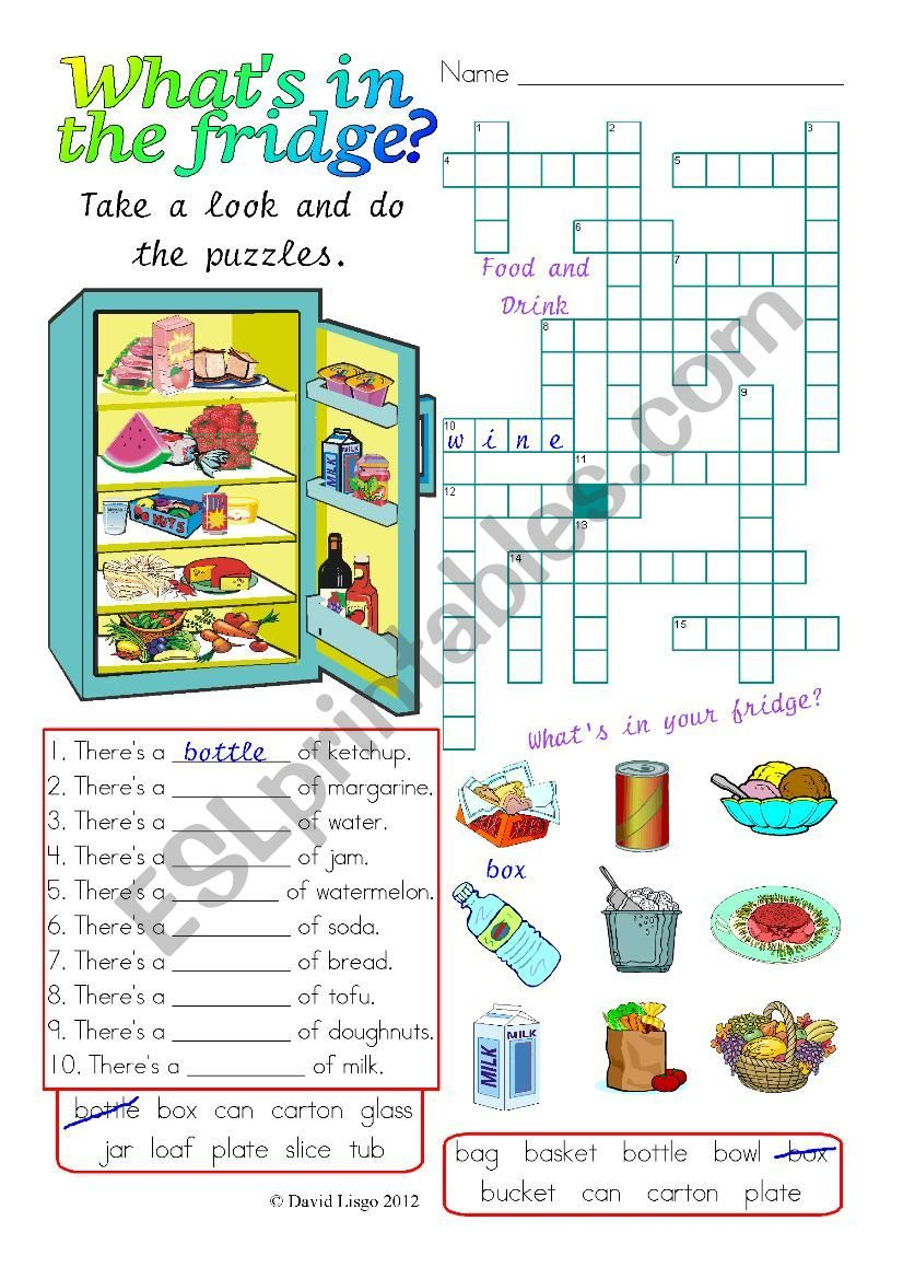 Another What S In The Fridge Worksheet This One Challenges The Students With 3 Separate Puzzles They Lo Worksheets Esl Worksheets Comprehension Worksheets