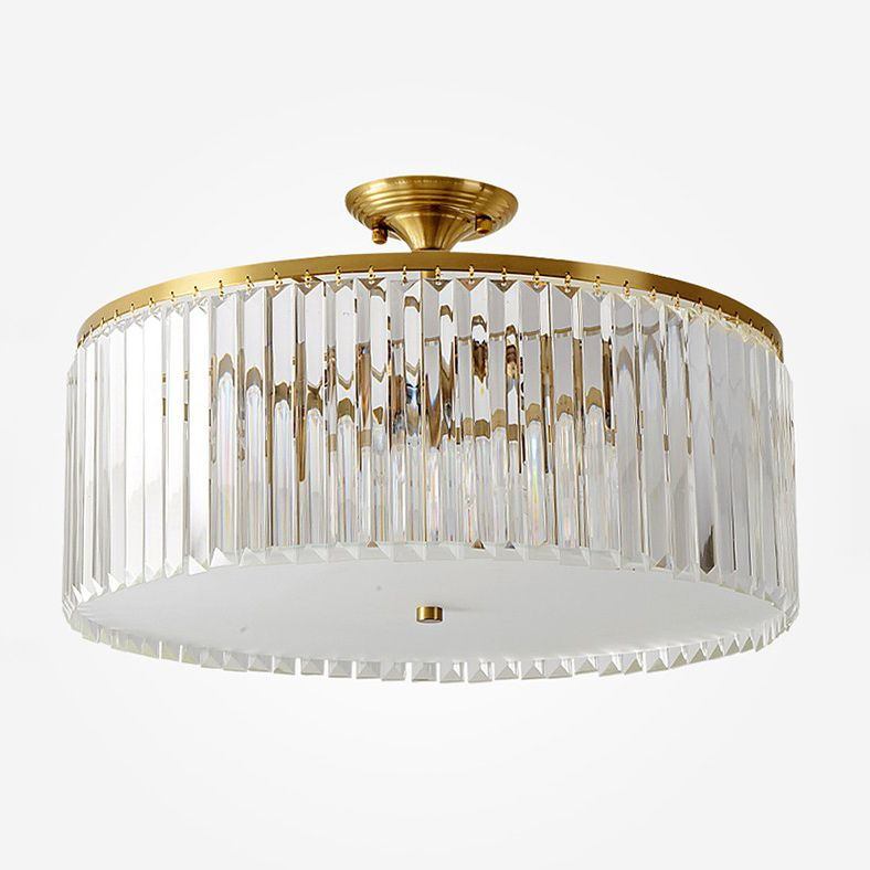 Mid Century Modern Round Crystal Semi Flush Mount In Gold With Crystal Strips Ceiling Light Ceiling Lights Flush Chandelier Flush Lighting