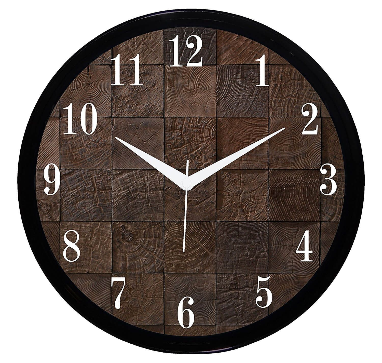 It2M 11 Round Wooden Look Wall Clock With Glass For