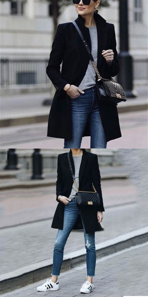 42 Winter Fashionable Outfits Ideas for Women | Black coat