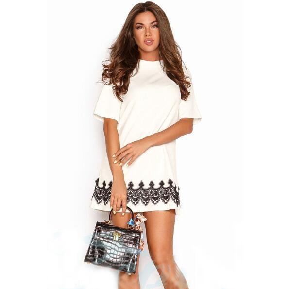New Arrival 2018 Summer Women Fashion Lace Casual Mini Dress Black White  Short Sleeve O-Neck Beach Tshirt Dresses f2206fd71582