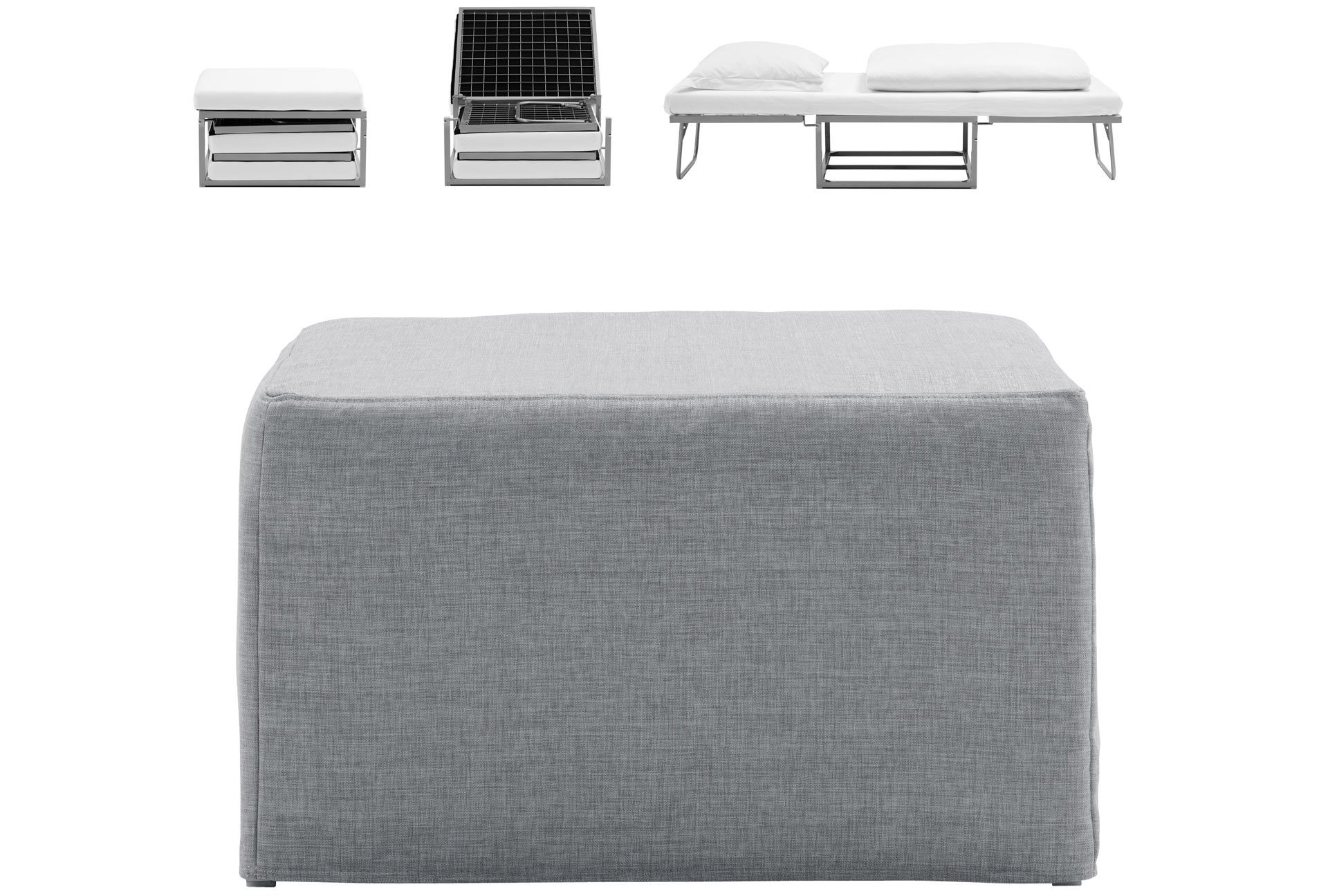 Xtra poufbed easily converts from a footstool to a bed for
