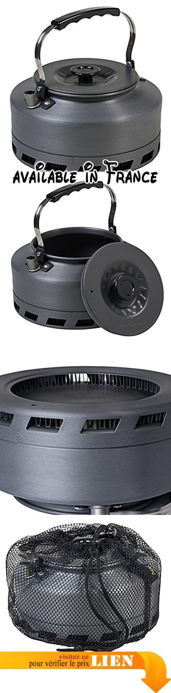 B077B21T4P : AceCamp HE Théière ultra léger290g Bouilloire Théière échangeur de chaleur en aluminium anodisé 1.6L anthracite 1664. Chauffe rapide grâce à l'échangeur de chaleur au fond du faitout et permet ainsi 30% le carburant et un temps précieux. Poids: 290g seulement-mais 1.6L. De haute qualité en aluminium anodisé ce qui rend la bouilloire est anti-rayures résistant et facile à nettoyer. La chaleur Anse peut être pliée