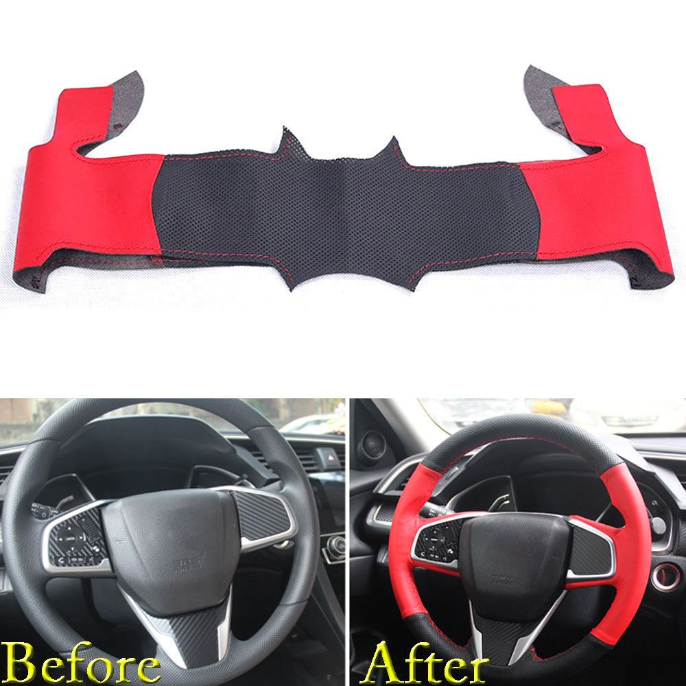 For Honda Civic 2016 2018 Steering Wheel Cover Wrap Trim Diy Black Red Leather Honda Civic Honda Civic 2016 Honda Civic Hatchback