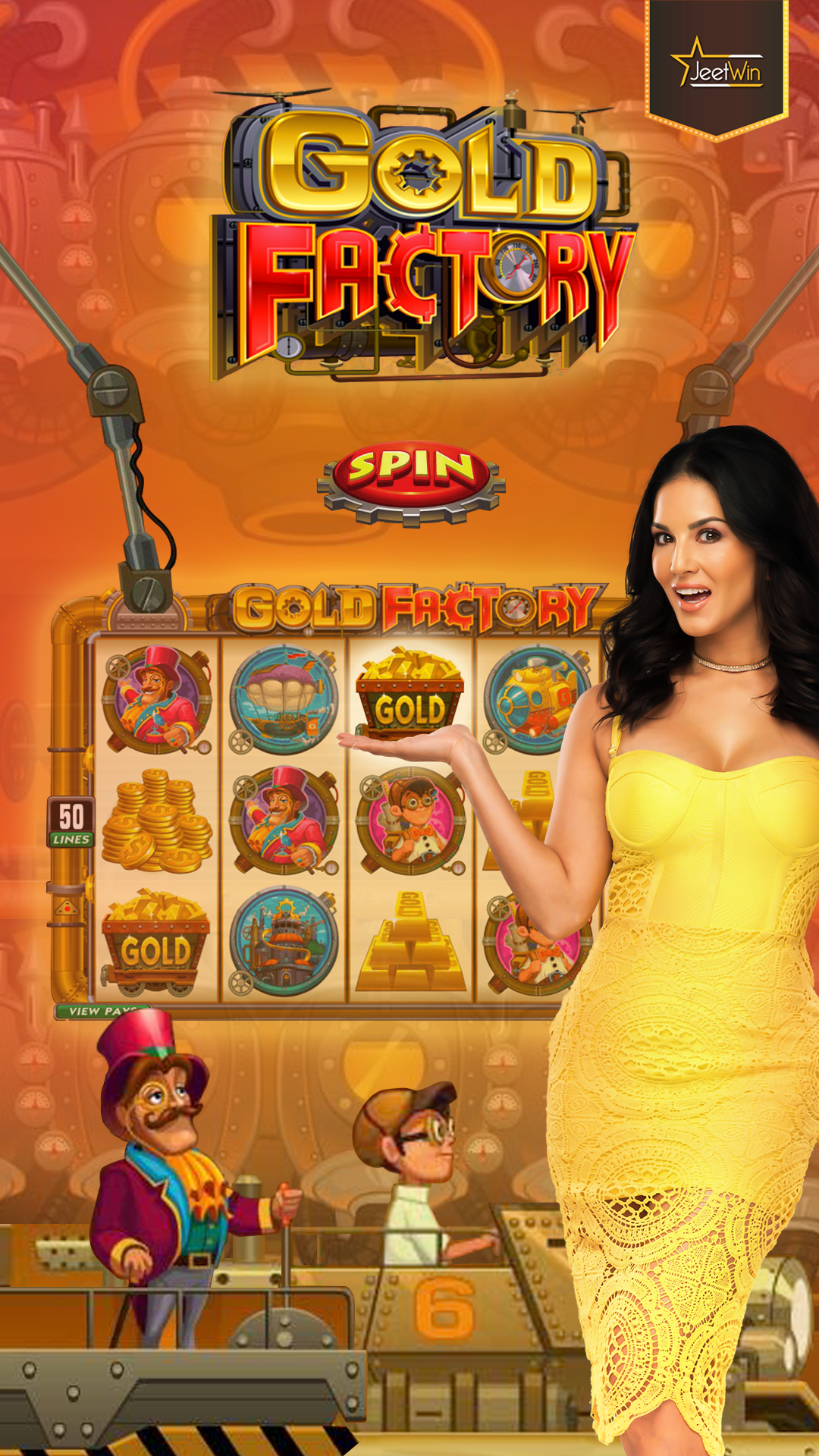Go on a adventure at Gold Factory with Sunny. slotgame