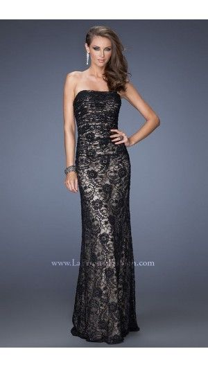 2014 La Femme 19210 Strapless Lace Black Prom Dress Ball Dresses