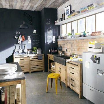 Idées pour une cuisine rétro Black sink, Black chalkboard and