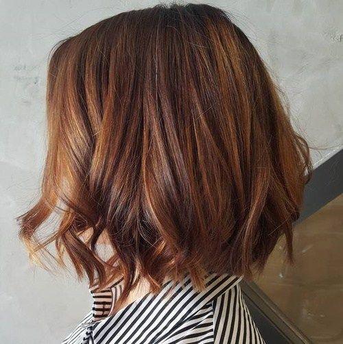 Brown Bob With Copper Balayage Caramel Hair Chestnut Hair