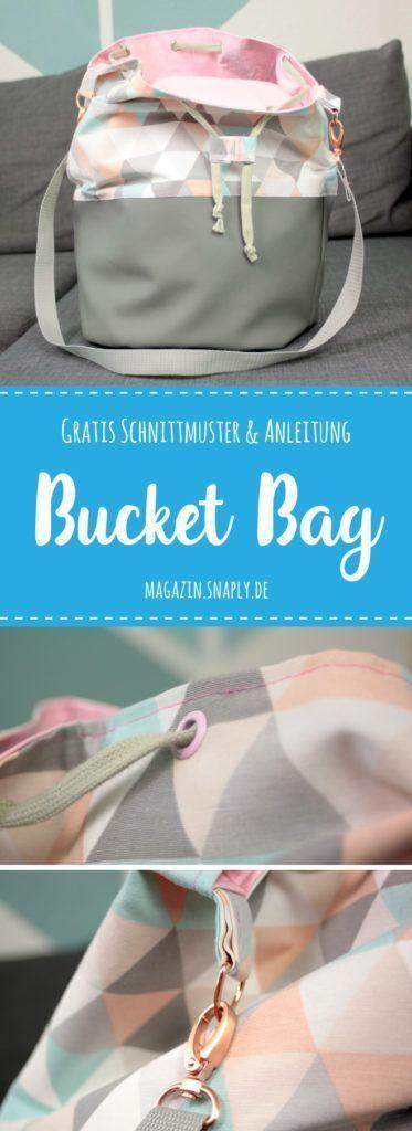 Bucket Bag nähen - kostenloses Schnittmuster & Anleitung | Snaply-Magazin #sewins