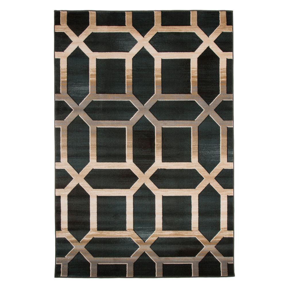 Lavish Home Opus Art Deco Teal 8 Ft X 10 Ft Area Rug Blue