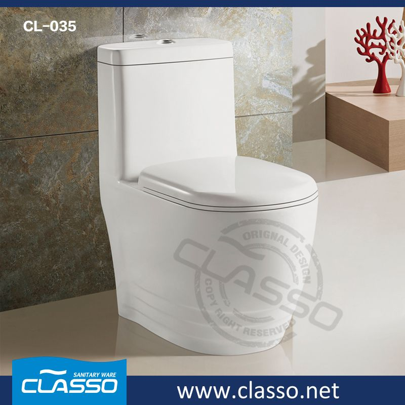 Hot sale New design siphonic one piece toilet WC CL-035   One Piece ...
