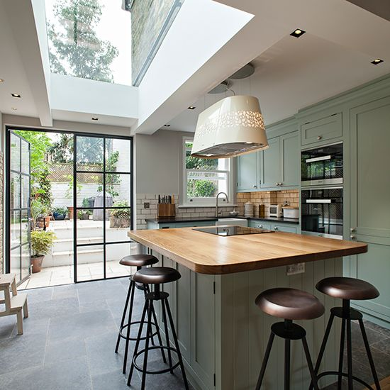 Modern High Gloss Orange Kitchen Cabinet Knock Down Home: Awesome Skylight, Island And Lovely Double Doors Out To
