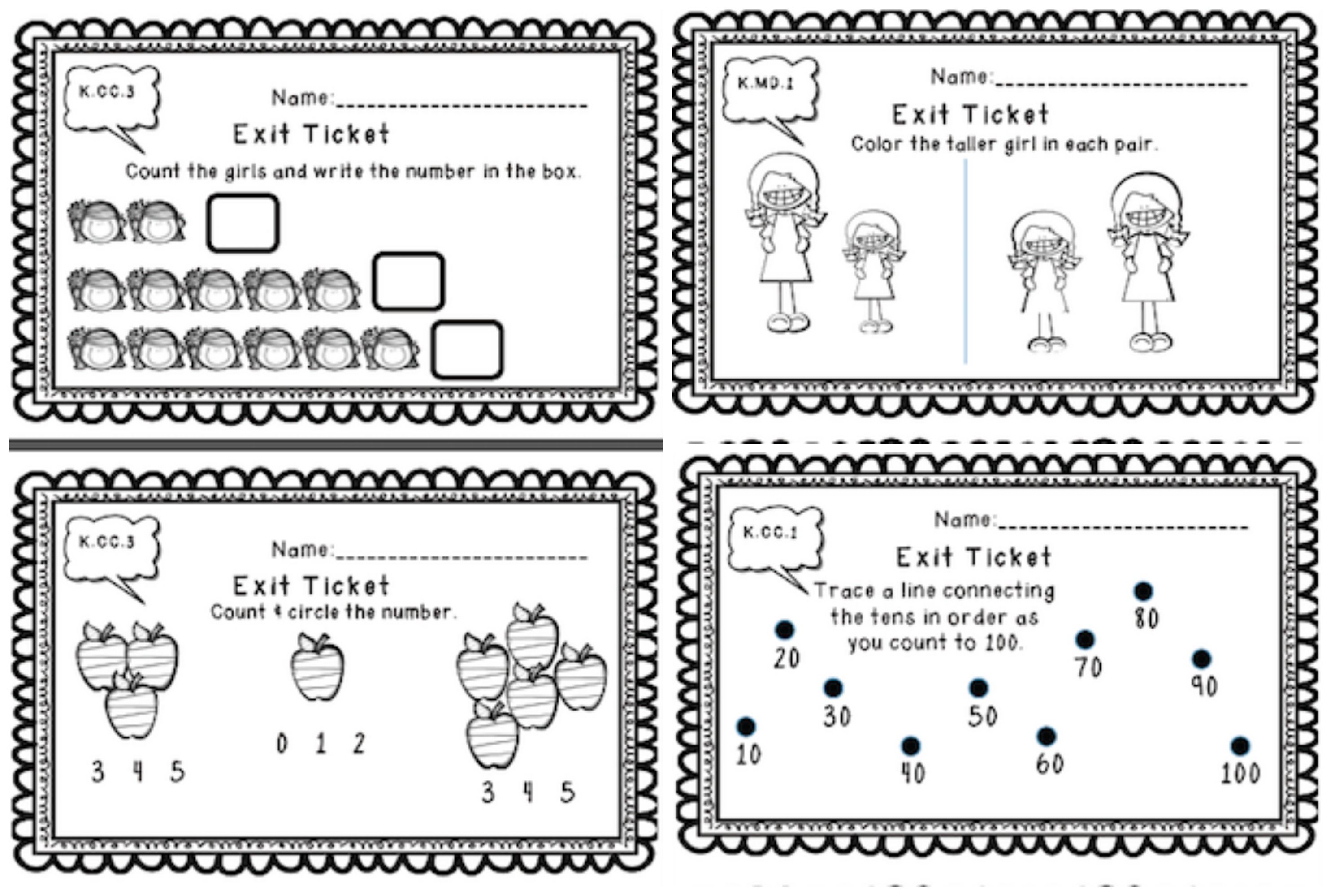 Kindergarten Math Exit Tickets