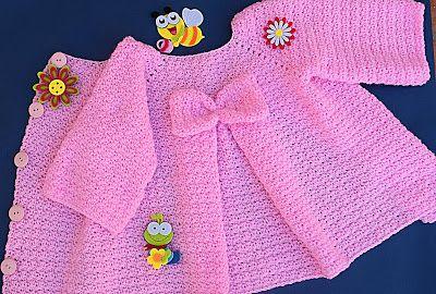2 - Crochet Imagenes Abrigo rosa a crocher y ganchillo muy fácil y sencillo , lindo por Majovel Crochet #vestidosparabebédeganchillo