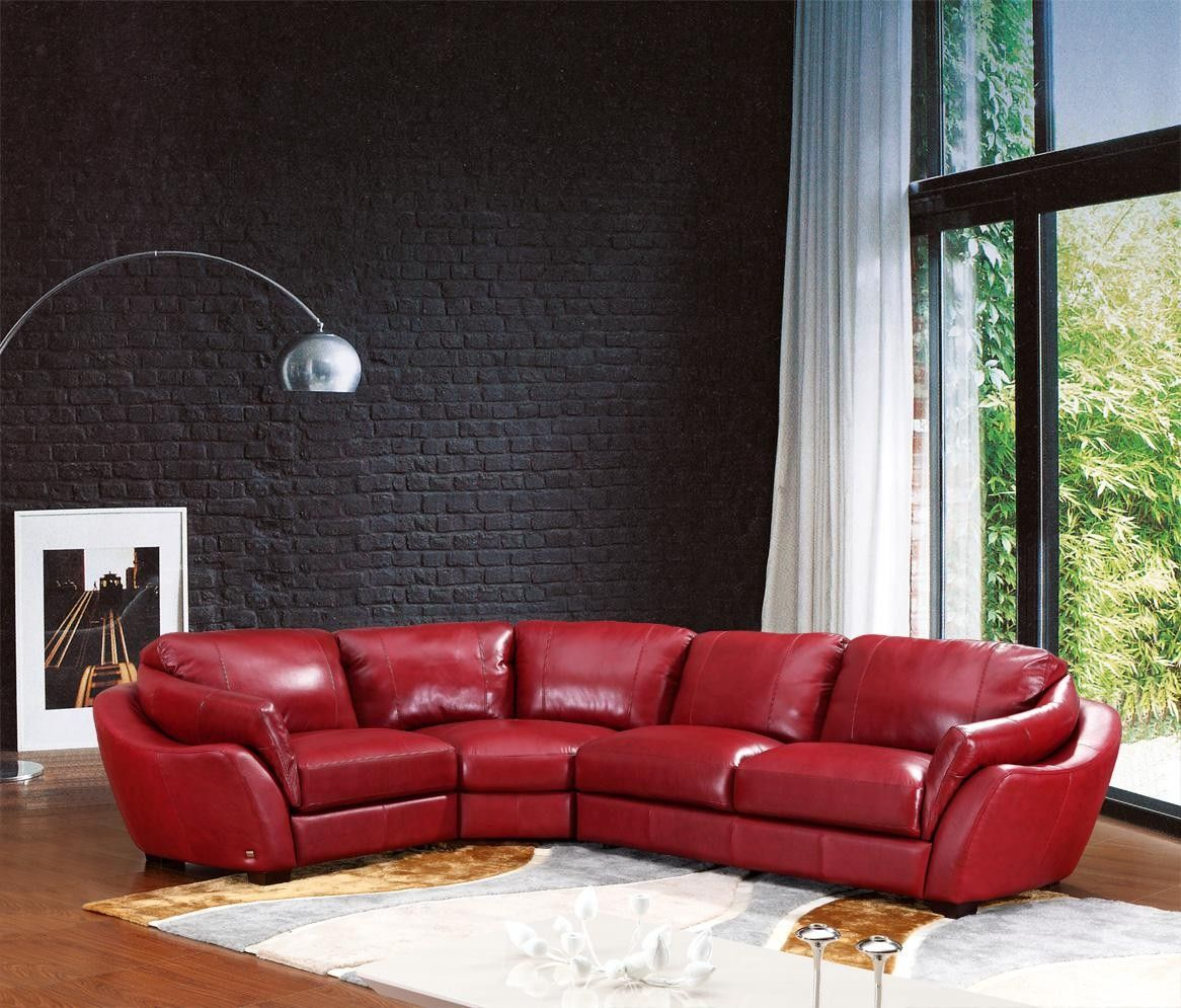Ordinaire Red Leather Sectional | Home 622Ang Modern Red Italian Leather Sectional  Sofa