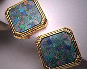 Vintage Australian Opal Earrings 18K Gold Estate Jewels