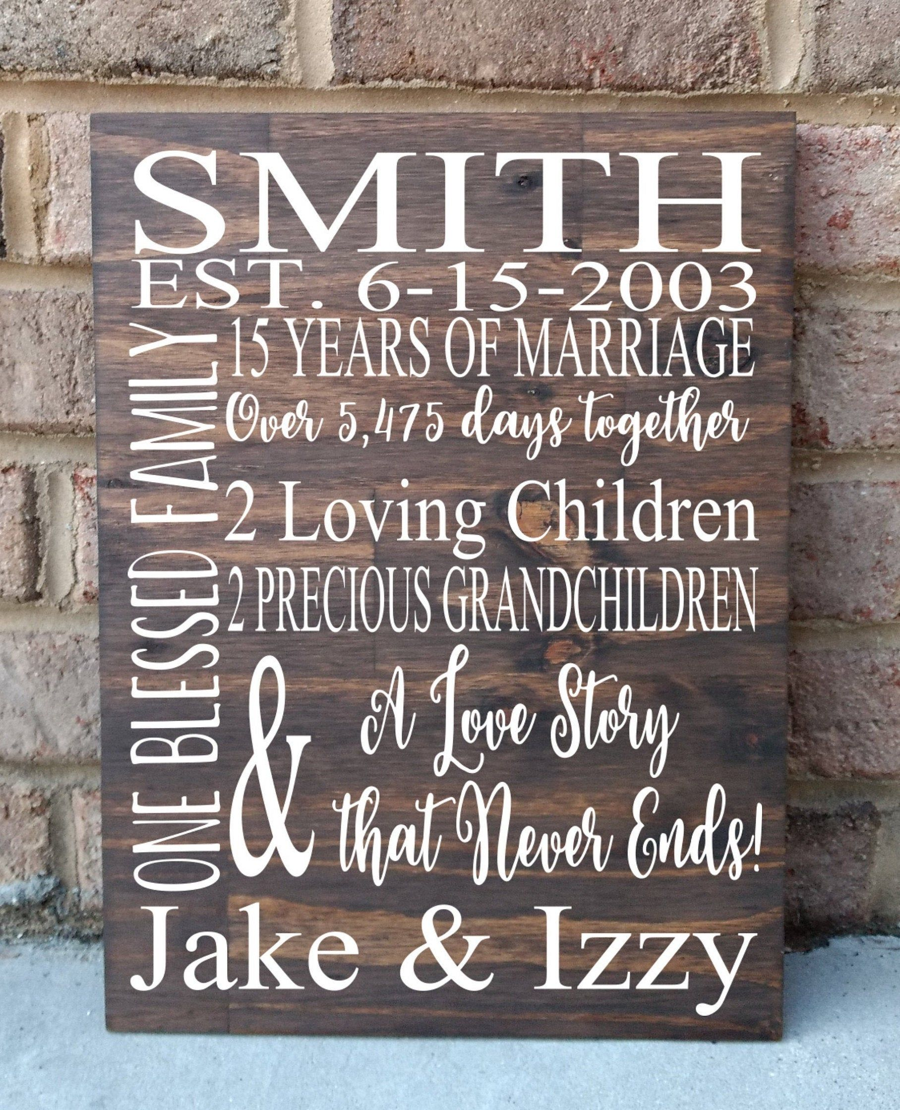15 Years Of Marriage Hand Painted Wood Sign 15th Anniversary Etsy In 2020 40th Anniversary Gifts 15th Anniversary Gift Anniversary Sign