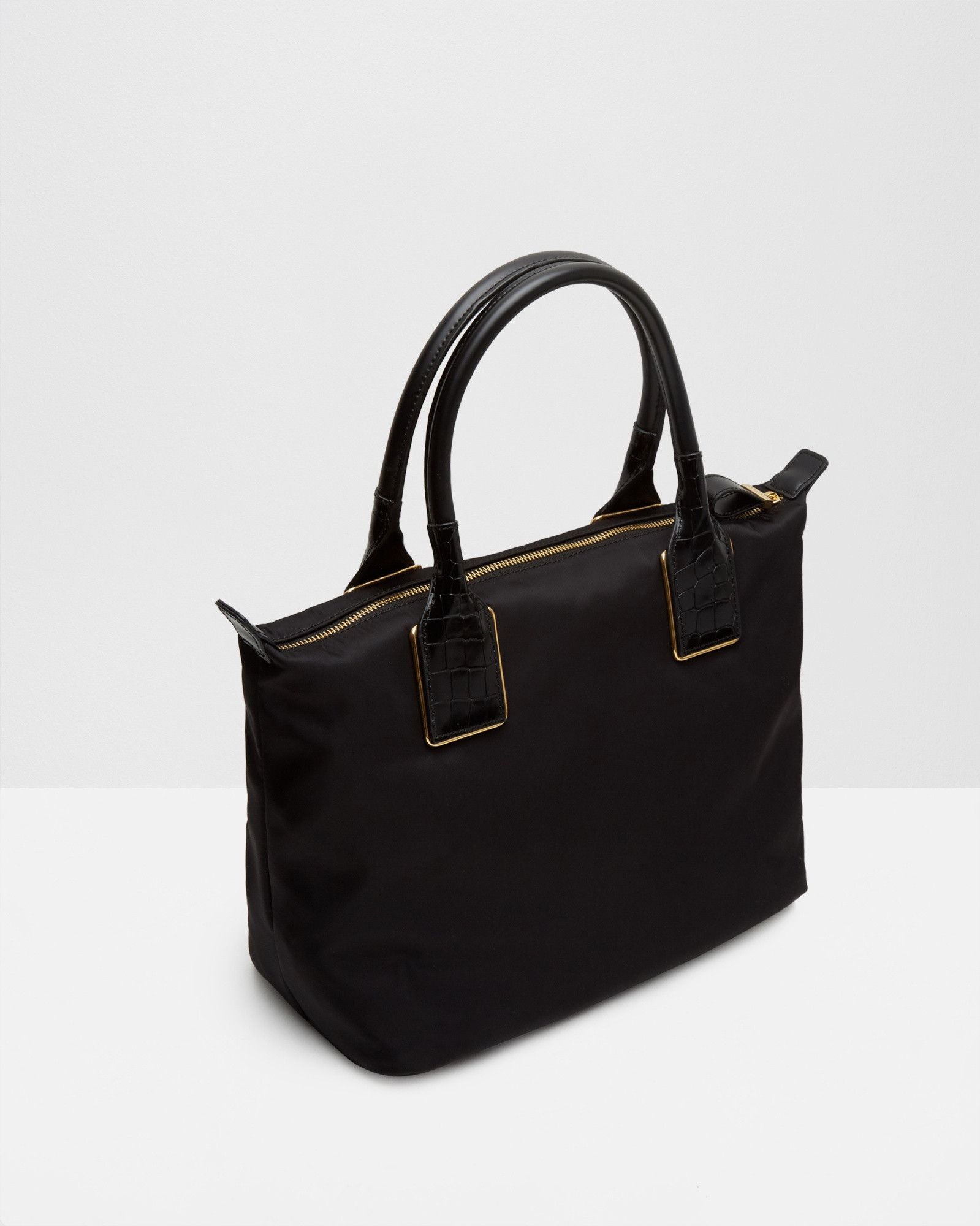 19811318bb57 Embossed trim small nylon tote bag - Black