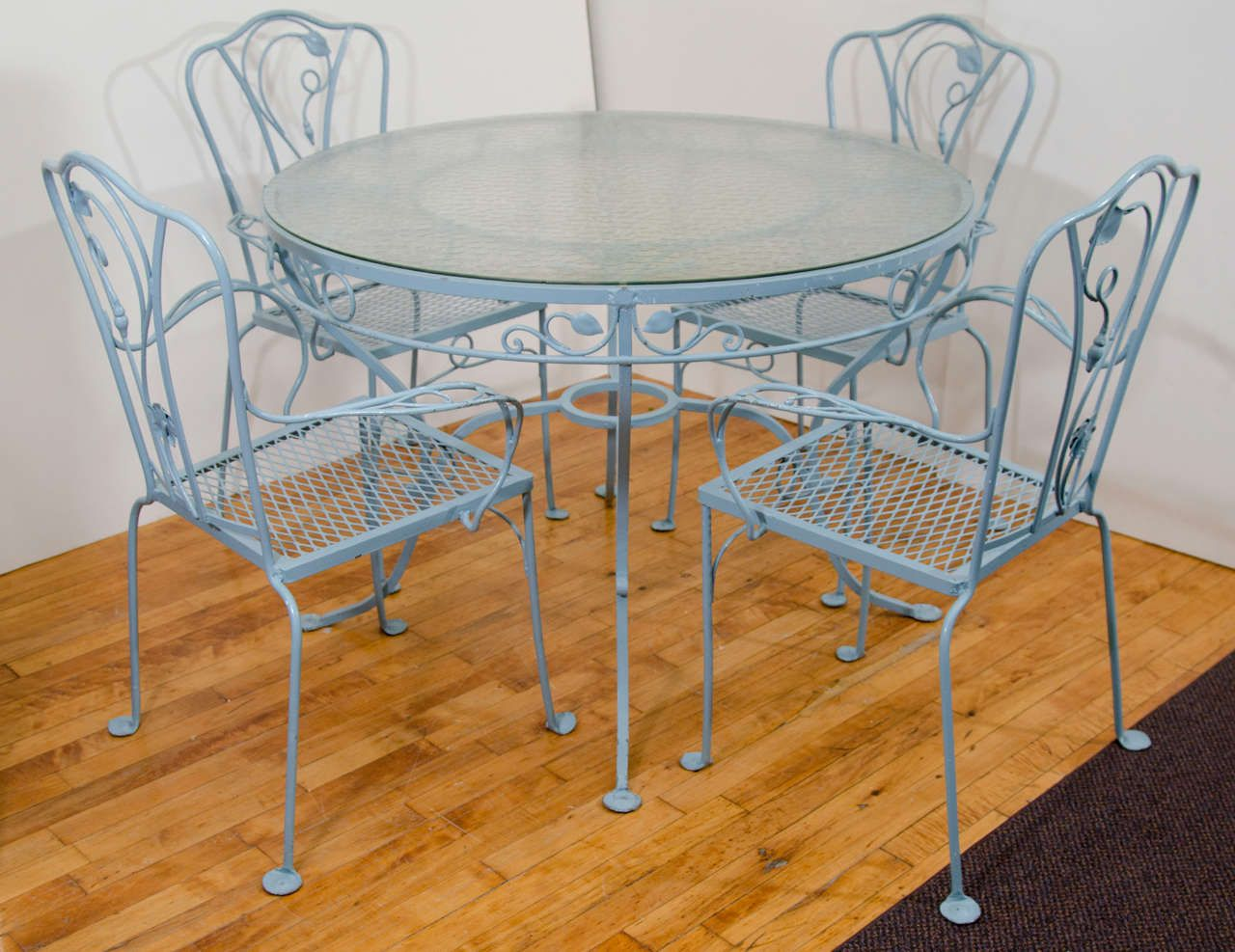 salterini wrought iron furniture. Vintage Salterini Wrought Iron Table And Chairs In Powder Blue Image 3 Furniture 1