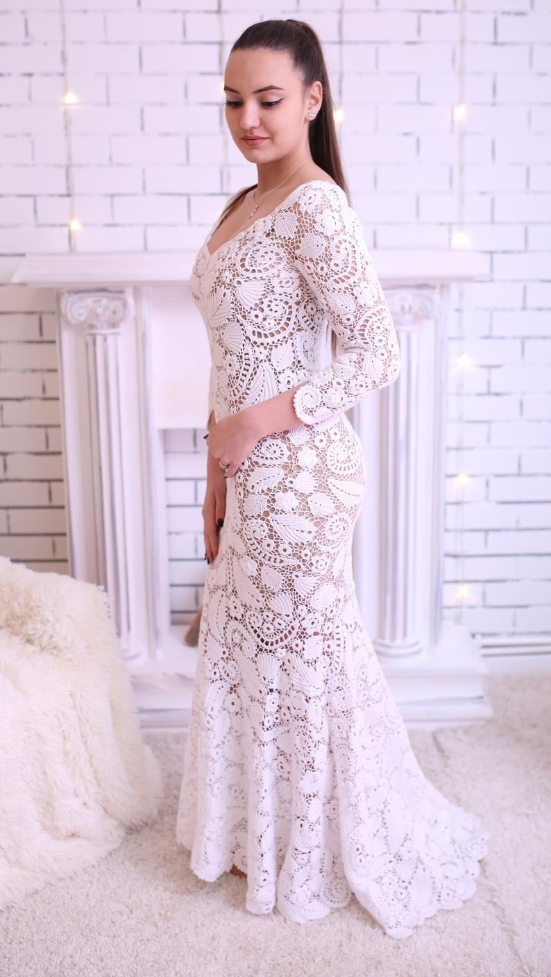 Mermaid bridal delicate irish gown Exquisite openwork
