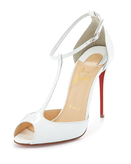 f83ef0058130 CHRISTIAN LOUBOUTIN Senora Patent 100Mm Red Sole T-Strap Sandal ...