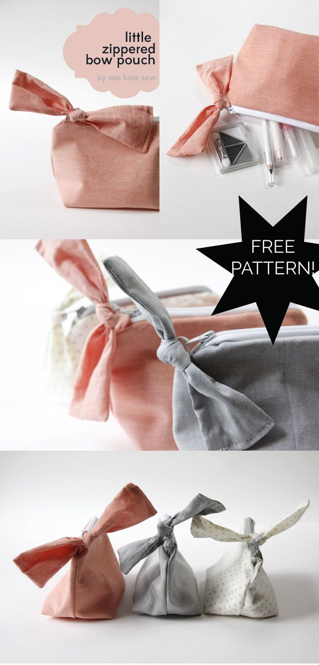 FREE PATTERN! zippered bow pouch pattern + tutorial - see kate sew