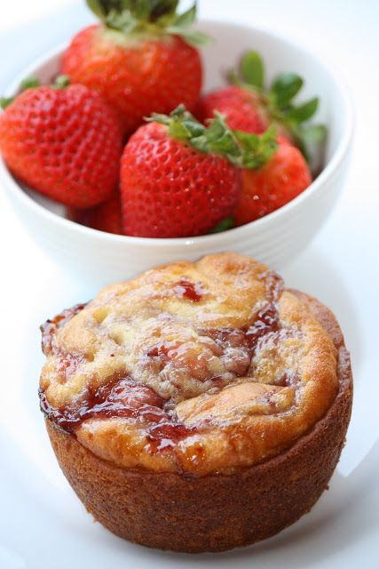 Strawberry Breakfast Buns---  I love them...buttery and tender, with pretty swirls of strawberry preserves.  Eeek!  I need another one...now!