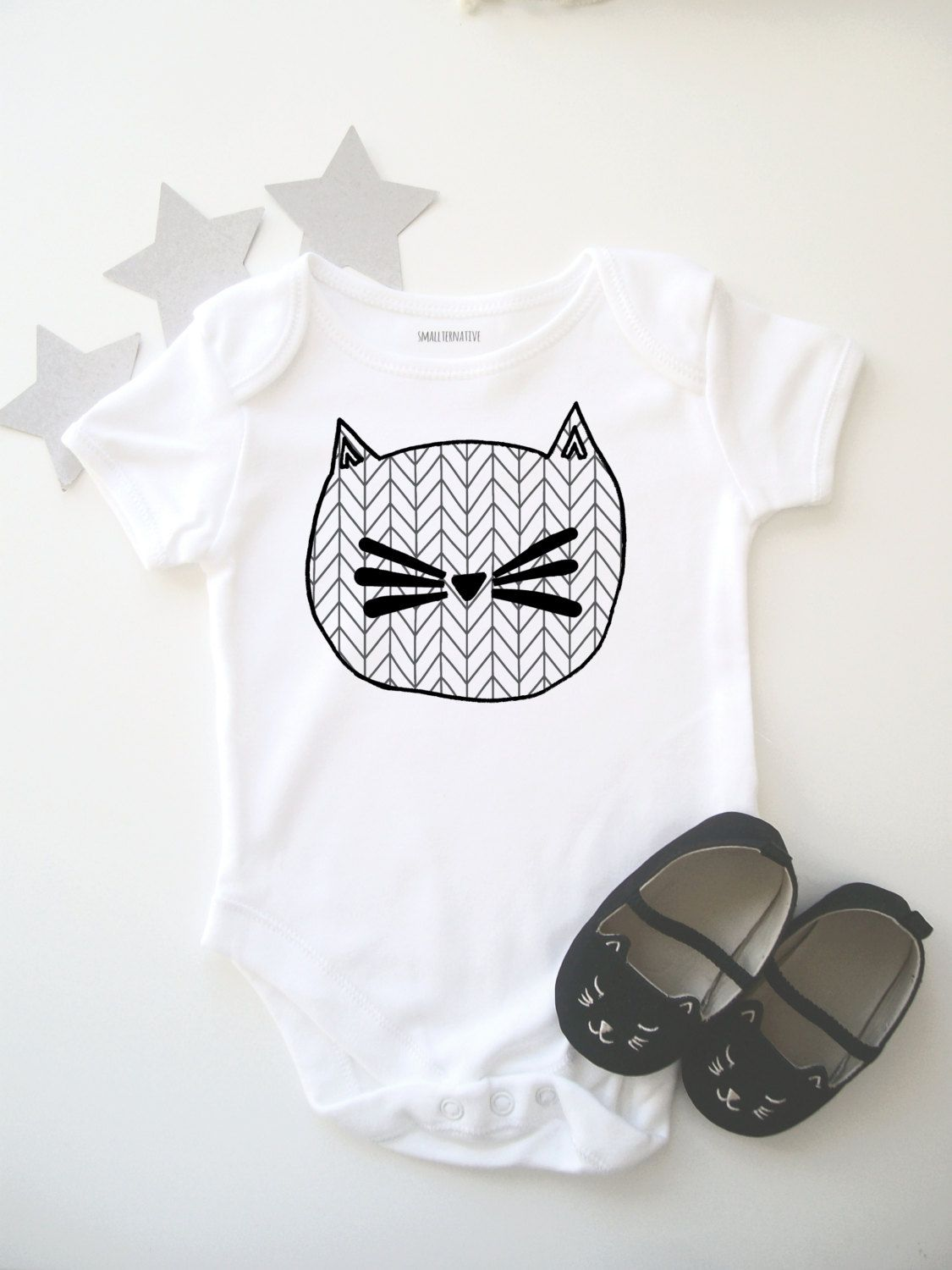 ceaf8f2a93a Geometric Cat Bodysuit // Babygrow // Cat Print // Baby Shower //  Illustration // Onesie // Baby Gift // One Piece // Modern Baby Clothing by  Smallternative ...