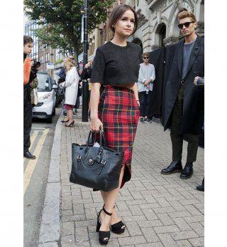 La jupe crayon à carreaux, look de la Fashion Week printemps été 2014 de Londres //