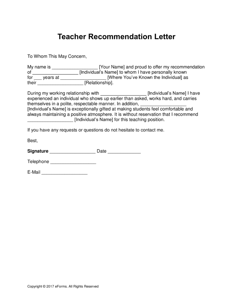 Free Recommendation Letter Template Interesting Free Teacher Recommendation Letter Template  With Samples  Pdf .
