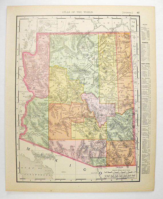 Antique Arizona Map, Nevada 1900 Vintage NV Map AZ, Arizona Gift for ...