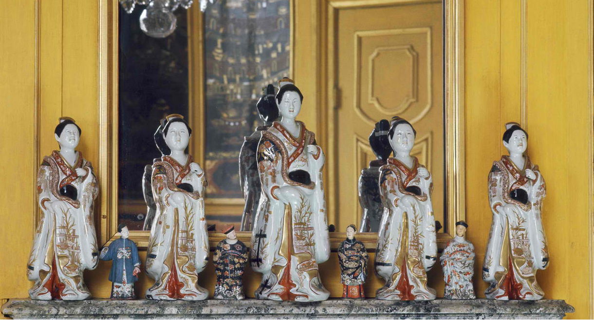 Porcelain dolls on the mantelpiece of the Yellow Room, Chinese Pavilion, Drottningholm Palace, Sweden