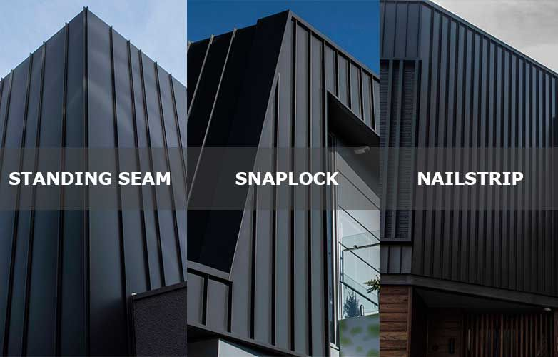 Standing Seam Snaplock And Nailstrip Cladding Systems Are