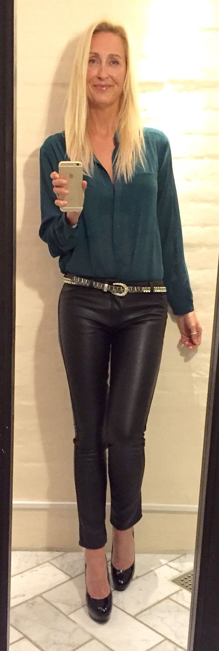 Shirt from Second Female.  Leather look-A-like pants from DilVin. Shoes from Nine West.