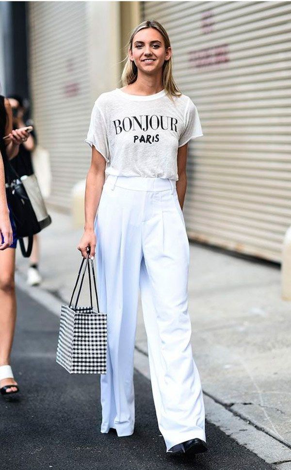 Street style look com camiseta branca e culotte.
