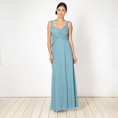 Debut Turquoise diagonal draped chiffon maxi dress- at Debenhams.com ...