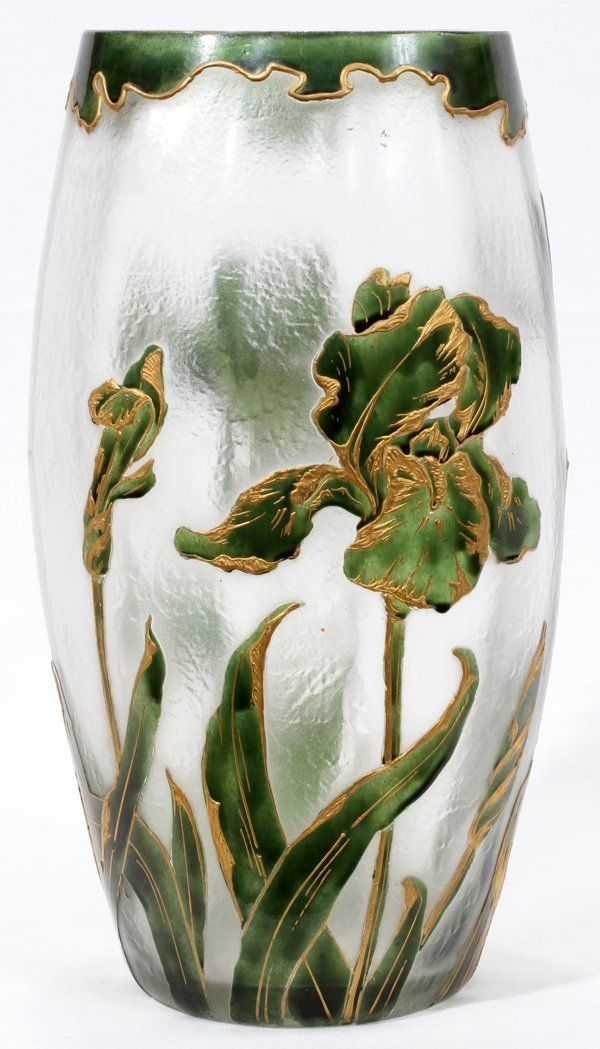 "MOSER ENAMELED CAMEO GLASS VASE, Ovoid shape with textured surface enameled in green and gold with irises and dragonfly in cameo style; ""Moser Karlsbad"""