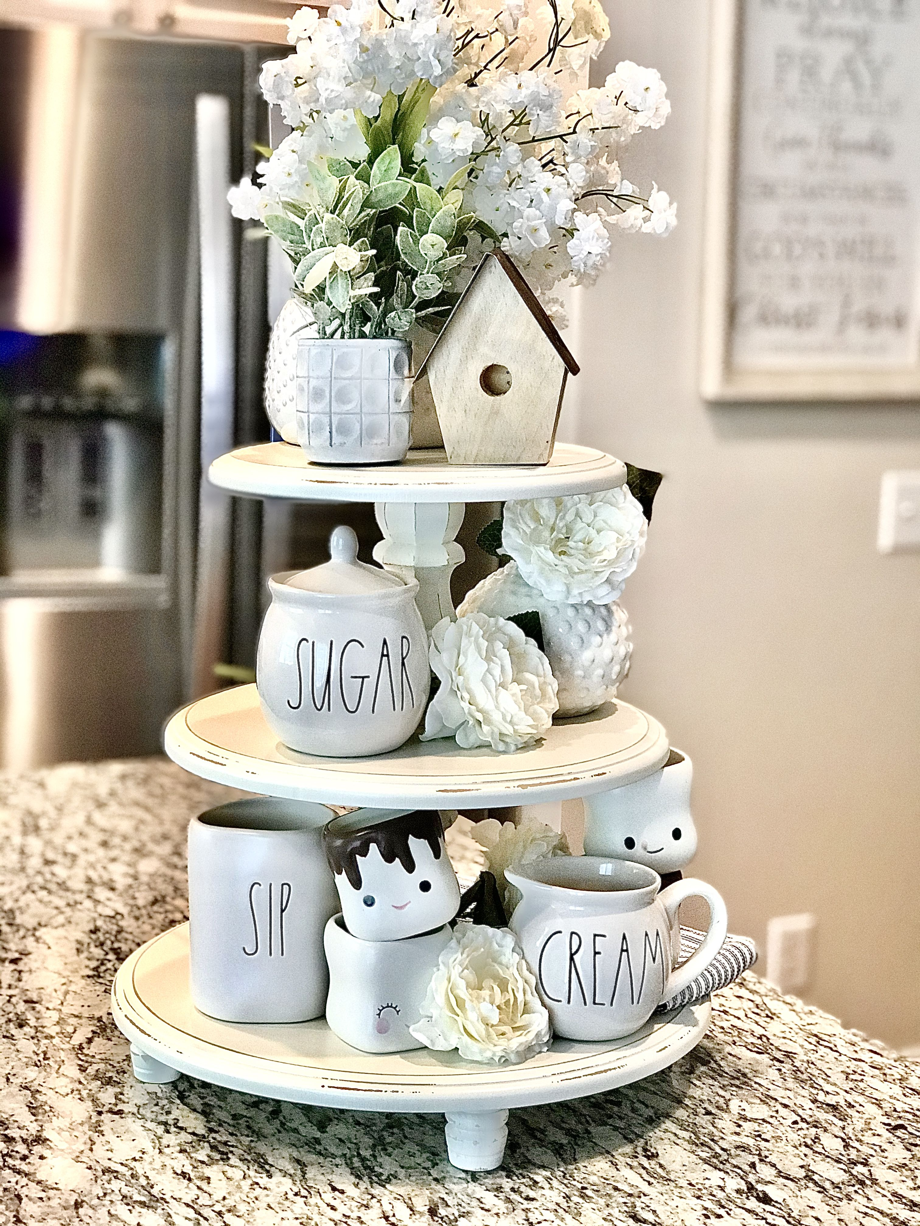 Tier Tray Wooden Tier Tray You Pick Color Tray Stand Riser Tiered Stand Centerpiece Rustic Farmhouse Kitchen Mug Riser In 2020 Decor Spring Home Decor Farmhouse Decor