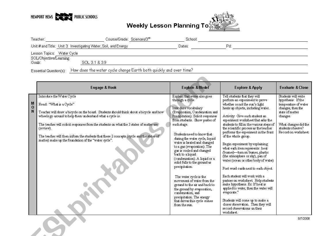 Water Cycle Worksheet English Worksheets Water Cycle