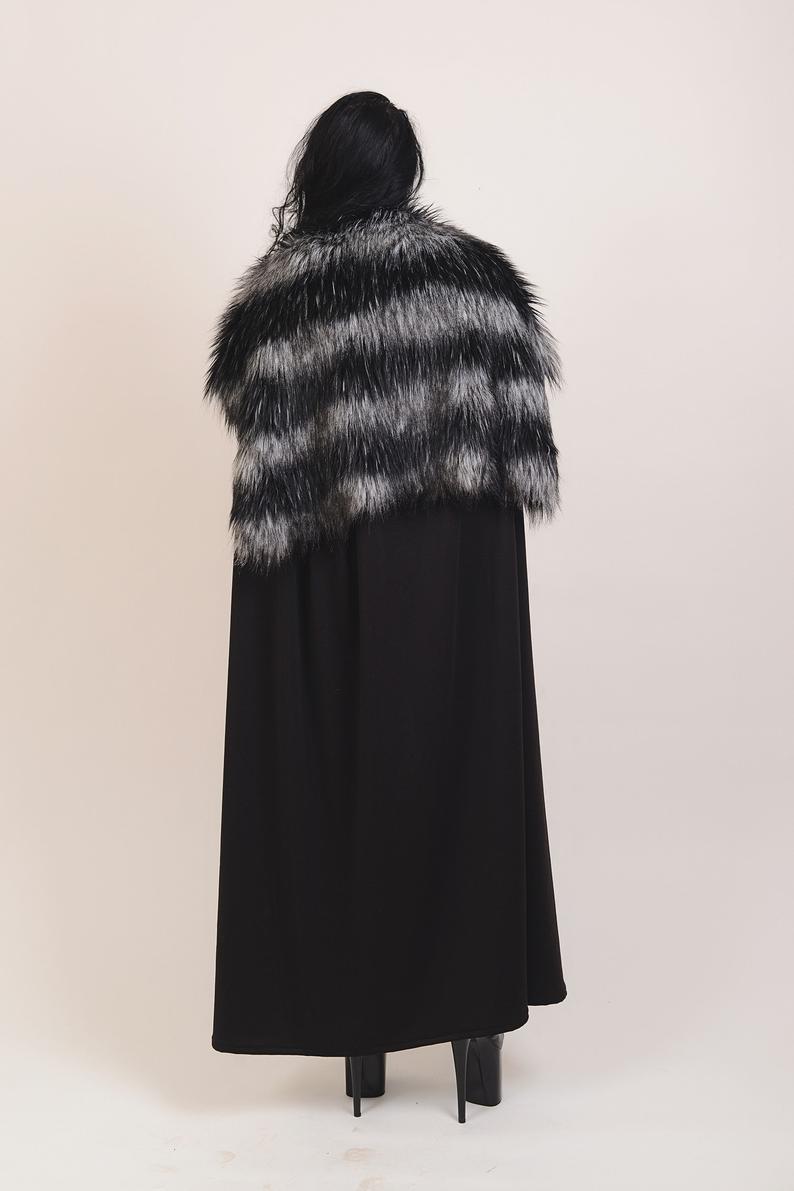 Black Cape Fur Collar Leather Straps Halloween Cape Etsy Fur Collars Black Cape Halloween Capes